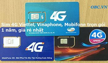 Sim 3G 4G LTE OBC trọn gói miễn phí 1 năm giá rẻ, không cần nạp tiền 2018