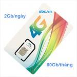Sim 3G 4G OBC Viettel 60Gb/tháng tốc độ cao