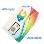 Sim 3G 4G OBC Viettel 4Gb/ngày tốc độ cao
