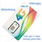 Sim 3G 4G OBC Viettel trọn gói 1 năm 2Gb/ngày không phải nạp thêm tiền