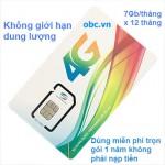 Sim 3G 4G OBC Viettel 88Gb trọn gói 1 năm không giới hạn dung lượng