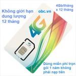 Sim 3G 4G Viettel 51Gb OBC trọn gói 1 năm miễn phí không cần nạp tiền