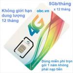 Sim 3G 4G Viettel 5Gb/tháng không giới hạn 12 tháng